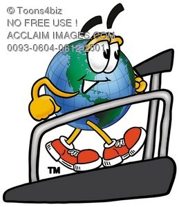 Cartoon Globe Character Running On a Treadmill