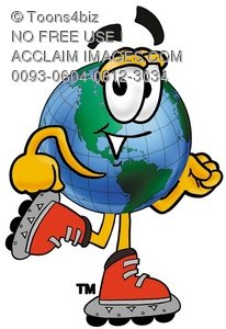 Cartoon Globe Character Rollerblading