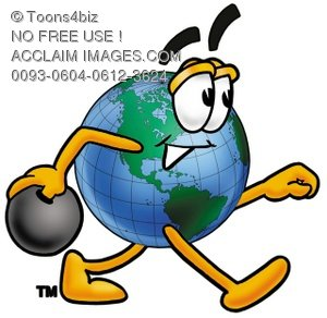 Cartoon Globe Character Bowling