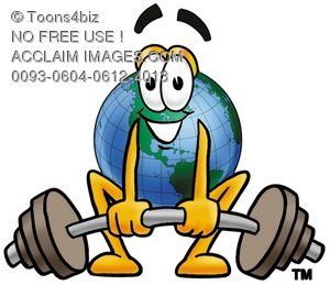Cartoon Globe Character Weightlifting