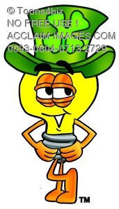 Cartoon Light Bulb Character Wearing a Clover Hat