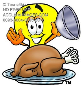 Cartoon Light Bulb Character Uncovering Thanksgiving Turkey Dinner