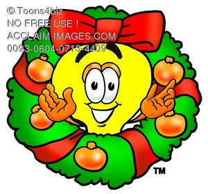 Cartoon Light Bulb Character in a Christmas Wreath
