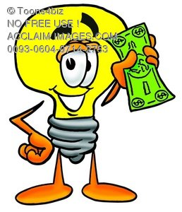 Cartoon Light Bulb Character With Money