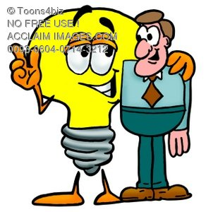 Cartoon Light Bulb Character With Businessman
