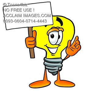 Cartoon Light Bulb Character With a Blank Sign