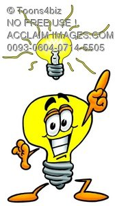 Cartoon Light Bulb Character With a Great Idea
