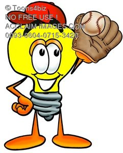 Cartoon Light Bulb Character Playing Baseball