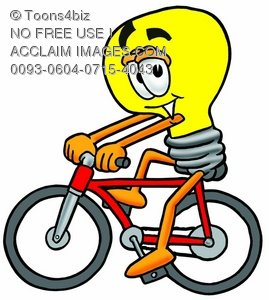 Cartoon Light Bulb Character Bicycling