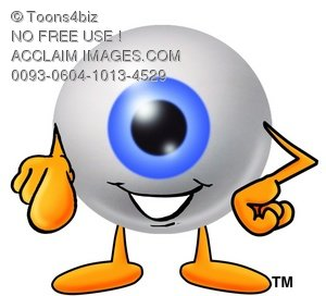 Cartoon Eye Ball Character Pointing Finger Forward