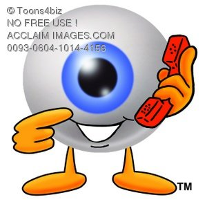 Cartoon Eye Ball Character Holding a Phone - Make an Appointment
