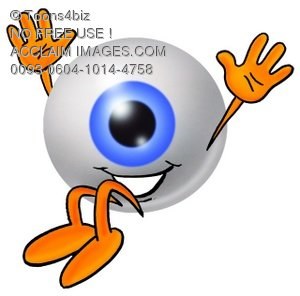 Cartoon Eye Ball Character Falling Down with a Smile
