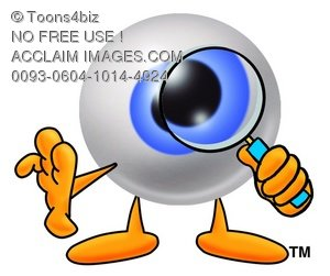 Cartoon Eye Ball Character Looking Through a Magnifying Glass