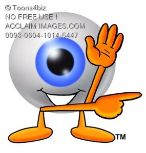 Cartoon Eye Ball Character Pointing Finger Side to His Side - Attention