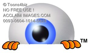 Cartoon Eye Ball Character Peeking Over