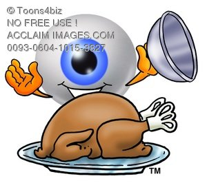 Cartoon Eye Ball Character Uncovering a Thanksgiving Turkey