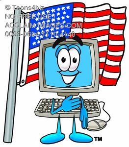 Cartoon Computer Character During Pledge of Allegiance