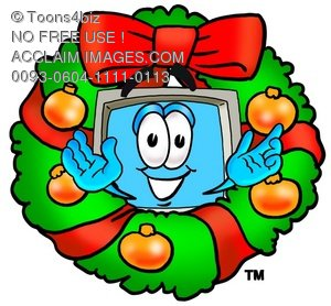 Cartoon Computer Character with Christmas Wreath
