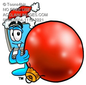 Cartoon Computer Character with Christmas Tree Ball Ornament