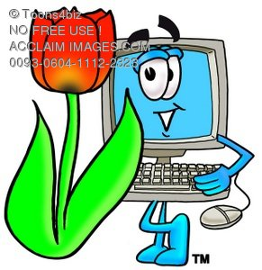 Cartoon Computer Character Beside a Tulip Flower