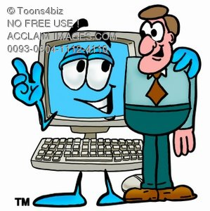 Cartoon Computer Character Beside a Businessman