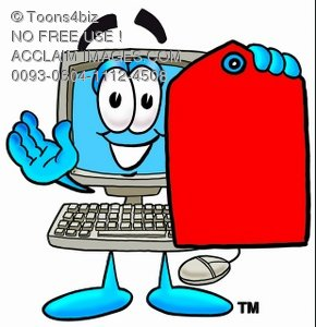 Cartoon Computer Character Holding a Blank Price Tag