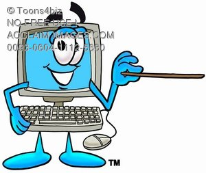 Cartoon Computer Character Pointing a Pointer Stick