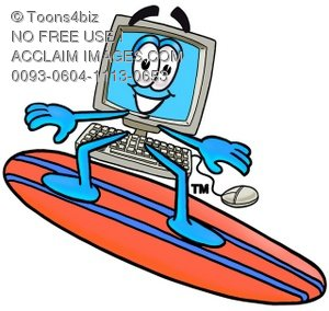 Cartoon Computer Character Surfing