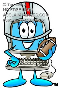 Cartoon Computer Character Playing Football