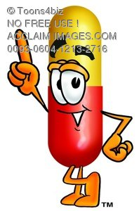 Cartoon Pill Character Pointing Finger Up