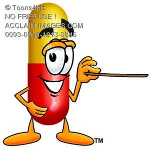 Cartoon Pill Character Pointing a Pointer Stick