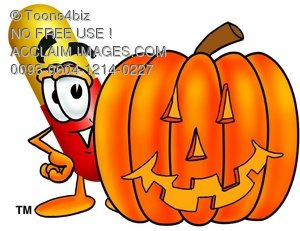 Cartoon Pill Character Beside a Halloween Pumpkin