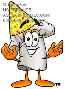 Cartoon Chef Hat Character Wearing a Party Hat