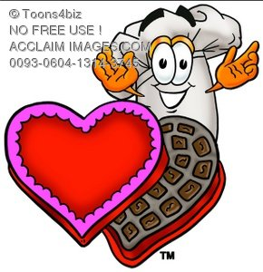 Cartoon Chef Hat Character with Valentine