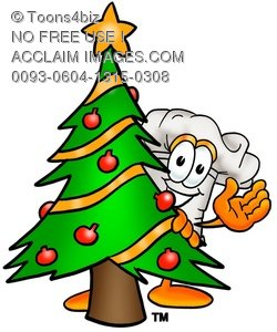 Cartoon Chef Hat Character Beside a Christmas Tree