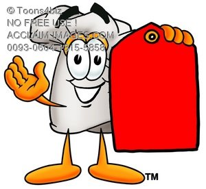 Cartoon Chef Hat Character Holding a Blank Price Tag