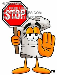 Cartoon Chef Hat Character Holding  a Stop Sign
