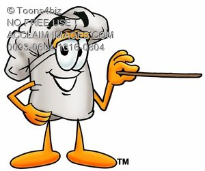 Cartoon Chef Hat Character Pointing a Pointer Stick