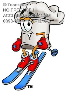 Cartoon Chef Hat Character Snow Skiing