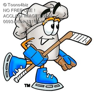 Cartoon Chef Hat Character Playing Hockey
