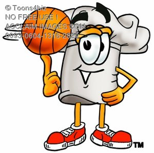 Cartoon Chef Hat Character Playing Basketball