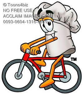 Cartoon Chef Hat Character Bicycling