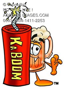 "Cartoon Beer Mug Character with ""KABOOM"" Dynamite Stick"