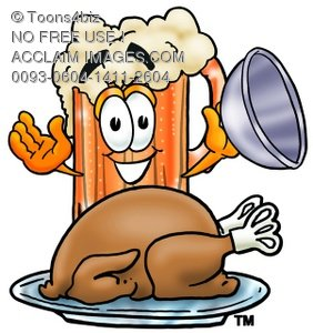 Cartoon Beer Mug Character Uncovering Thanksgiving Turkey