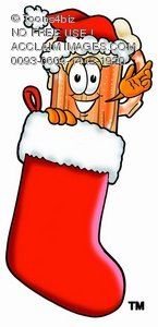 Cartoon Beer Mug Character in a Christmas Stocking