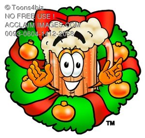Cartoon Beer Mug Character with a Christmas Wreath