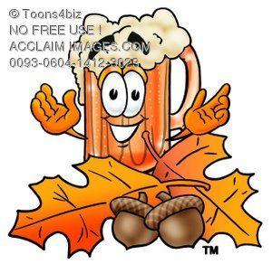 Cartoon Beer Mug Character with Fall Leaves and Acorns
