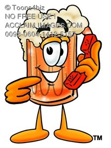 Cartoon Beer Mug Character Holding a Phone