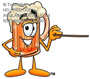 Cartoon Beer Mug Character Pointing a Pointer Stick
