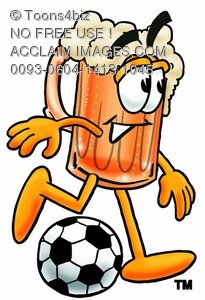 Cartoon Beer Mug Character Playing Soccer